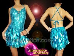 Showgirl's Glam Time Blue Sequined Dance Dress With Haltered Back Fitting