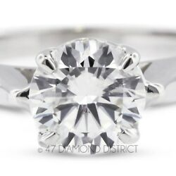 1.96ct. D-SI2 Ex Round Certified Diamond 950 PLT. Cathedral Solitaire Ring 7.2gm