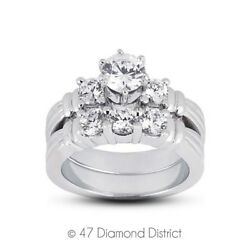 3.74ct tw. G-SI2 Ex Round Natural Diamonds 950 PLT. Vintage Matching Rings 19.1g
