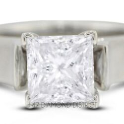 2.04ct. H-VS2 Ex Princess Real Diamond 14K Gold Cathedral Engagement Ring 7.1gm