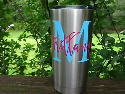 Custom Monogram Name Vinyl Decal for Stainless Tumblers Coffee Travel Cups