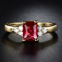 Size 5-9 24k Yellow Gold Filled Princess Ruby Red Sapphire Women Cocktail Rings