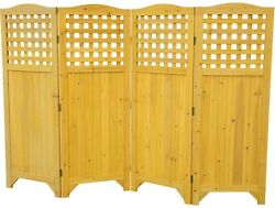 Patio Folding Wood Privacy Screen Garden Balcony Fence Freestanding Outdoor Use