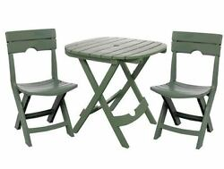 Outdoor Bistro Set 3 pc Patio Table 2 Chairs Furniture Chair Garden Folding Deck