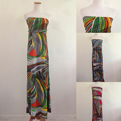 Casual Striped Tube Top Sundress Long Maxi Summer Beach Party 3 Unique Colors $10.99