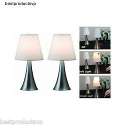 Modern Bedside Table Lamps Bedroom Touch Pair Reading Small Sensor Nickel Set  $37.50