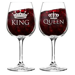 King and Queen 12.75 oz. Wine Glass Set Cool Gift Idea for Wedding Annivers... $22.99