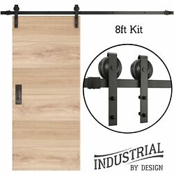8-Foot Sliding Barn Door Hardware Kit (Black) Includes Easy Step-By-Step Install