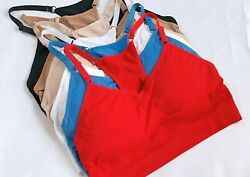 SPORTS BRAS 6 OR 3 BRA YOGA ACTIVE WEAR SEXY Seamless RACER BACK TOP 25015 S-2XL $17.50