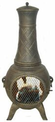 Deeco CP DM6035J-AA Western Basket Weave Jr. Chiminea with Cast Aluminum Spark