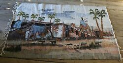 Egyptian Hand Woven Huge Tapestry Decorative Wool Rug Textile -Desert Landscape