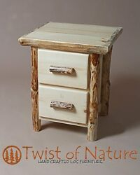 Log end table night stand  2 Drawer with lots of storage!