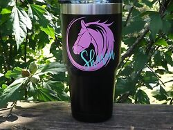 Custom Monogram Horse Vinyl Decal for Stainless Tumblers Coffee Travel Cups