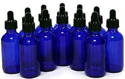 12 Pack of Cobalt Blue 2 oz Glass Bottles with Glass Eye Droppers NEW !  $14.88
