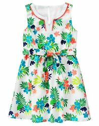 NWT Gymboree SUNNY SAFARI Girl Tropical Floral Belted Poplin Dress Size 7 New