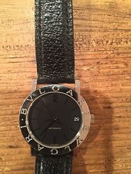 Bvlgari Watch Black Face Stainless Black Leather Factory Band BB30SLD*