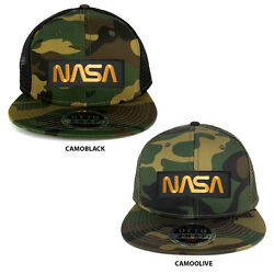NASA Worm Gold Text Embroidered Patch Snapback Camo Trucker Mesh Cap $19.99