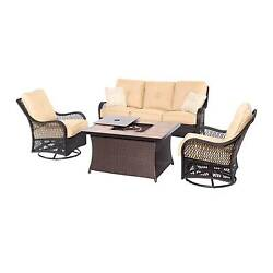 Hanover Orleans 4-Piece Woven Lounge Set wFire Pit Table wPorcelain Stone T...