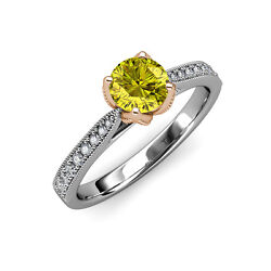 Yellow & White Diamond Engagement Ring 1.16 ct tw in 14K White Gold JP:111550