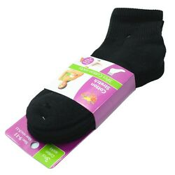 Black 3 Pairs Ankle Quarter Crew for Women Socks Cotton Low Cut Size 9 11 $8.27