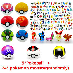 9pcs Pokemon Pokeball + 24pcs Action Figures Random Cosplay Pop-up BALL Kid Toys