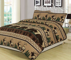 King Queen Twin Quilt Bed Set or Curtain Pair Bear Elk Log Cabin Lodge Rustic