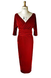 Baylis and Knight Red Velvet Wrap Dress pinup bombshell dita cocktail flattering GBP 80.00