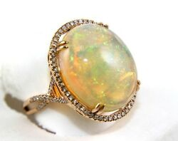 Huge Oval Fire Opal Solitaire Infinity Ring wDiamond Halo 14k Rose Gold 13.88Ct