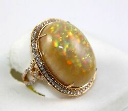 Fine Huge Oval Cut Fire Opal Solitaire Ring wDiamond Halo 14k Rose Gold 20.97Ct
