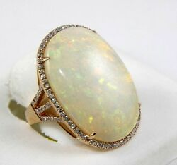 Fine Huge Oval Cut Fire Opal Solitaire Ring wDiamond Halo 14k Rose Gold 21.43Ct