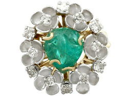 2.42 ct Emerald and 0.95 ct Diamond 18 ct Yellow Gold Dress Ring - Antique