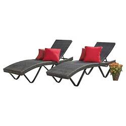 San Marco 2 Piece Wicker Patio Chaise Lounge - Grey - Christopher Knight Home