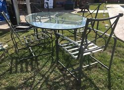 BROWN & JORDAN PATIO SET 4 CHAIRS AND TABLE WITH GLASS TOP & CUSHIONS