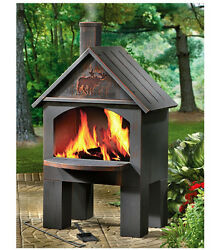 Outdoor Patio Deck Fire Pit Chiminea Fireplace Heater BBQ Grill Wood Oven Stove