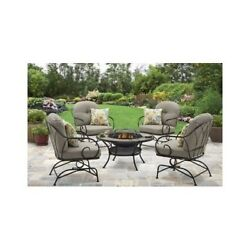 Patio Set With Fire Pit Wrought Iron Furniture Chair Cushions Table Lawn Modern