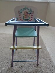 Vintage 1990 American Toy Company Cabbage Patch Wooden Doll High Chair