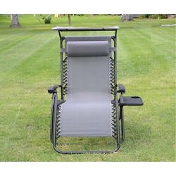 Zero Gravity Lawn Chair With Canopy Lounge Outdoor Tray Reclining Padded Camping