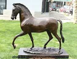 21 Western Bronze Copper Marble Art Home Decoration Walk Horse Statue Sculpture