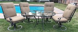 BROWN JORDAN PATIO SET 4 SWIVEL ROCKER LOOSE CUSHIONS CHAIRS AND ROMA TABLE