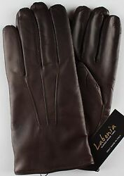 NWT LABONIA GLOVES lamb leather cashmere brown luxury handmade Italy 9.5