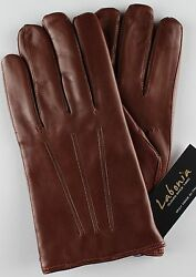 NWT LABONIA GLOVES lamb leather cashmere brown luxury handmade Italy 9