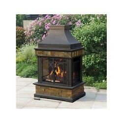 Outdoor Wood Burning Fireplace Slate Chimney Backyard Patio Cabin Screen Firepit
