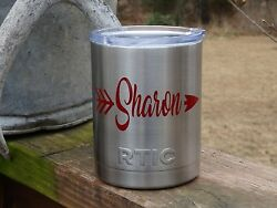 Custom Monogram Arrows Vinyl Decal for Stainless Tumblers Coffee Travel Cups