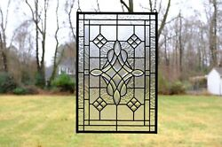 Handcrafted All Clear stained glass Beveled window panel 16quot; x 24quot; $179.99