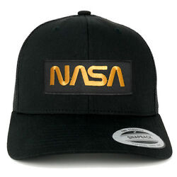 FLEXFIT NASA Worm Gold Text Embroidered Iron on Patch Snapback Mesh Trucker Cap $19.99