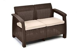 Deck And Patio Furniture Garden Bench Outdoor Love Seat Keter With Cushions