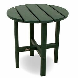 POLYWOOD Round Side Table 18 Inch Green Recycled Lumber New See Details