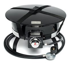 Durable 58000 BTU Firebowl Deluxe Portable Propane Fire Pit With Top Black