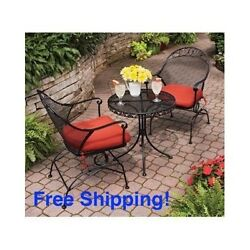 Patio Bistro Set Outdoor Furniture Table Chairs 3 Piece Red Deck Lawn Pool Metal