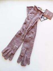 LORO PIANA Tan Baby Cashmere Cable-Knit Long Gloves NWT